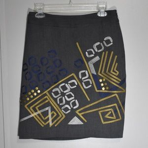 Grey Geo Print Embroidered Embellished Skirt 6